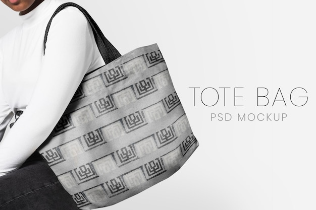 Editable tote bag mockup psd template teen's apparel ad