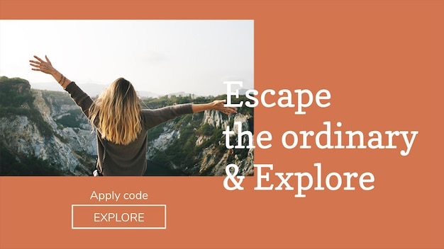 Editable travel banner template psd for bloggers