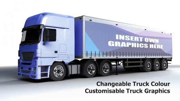 Editable truck mockup Free Psd