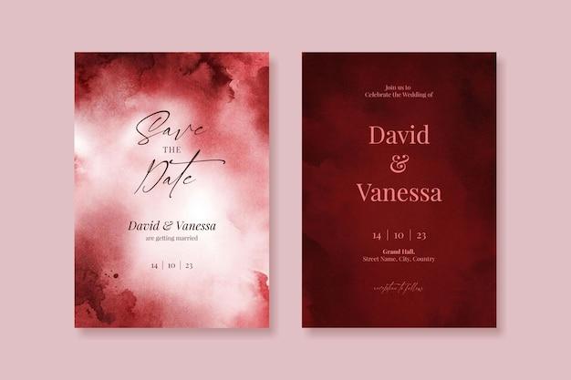 Editable watercolor burgundy red wedding invitation card template set