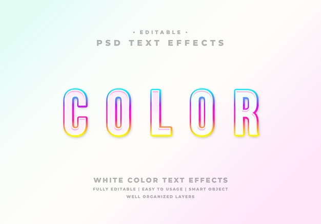 Editable white color text style effect