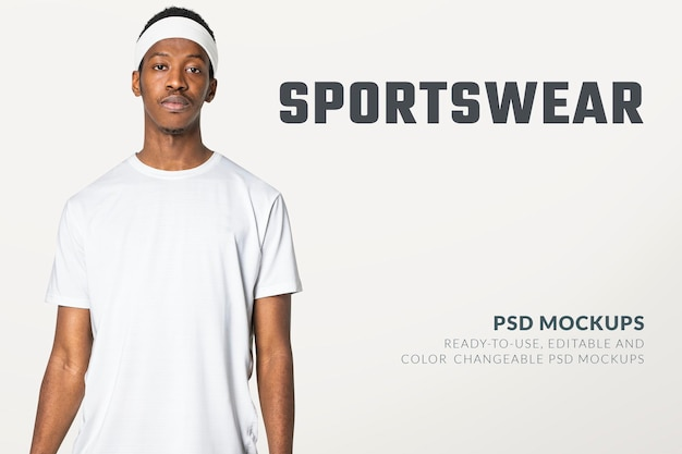 편집 가능한 흰색 티셔츠 psd 목업 남성용 스포츠웨어 패션 광고