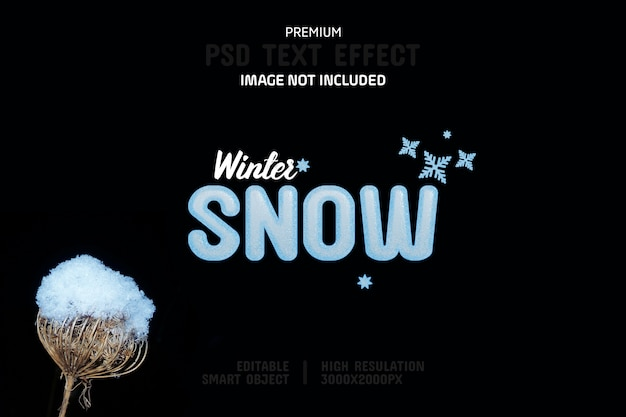 Editable winter snow text effect template
