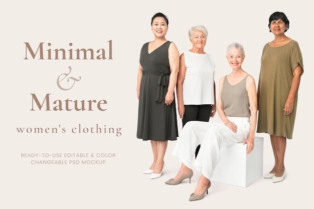 최소한의 성숙한 스타일 광고에서 편집 가능한 여성 의류 모형 psd