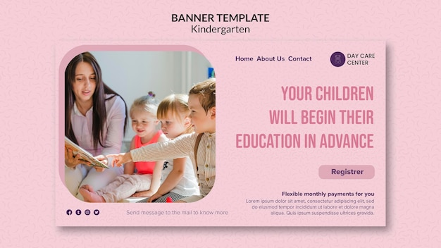 Education in advance kindergarten banner template