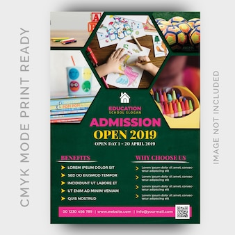 Education, back to shool flyer design template