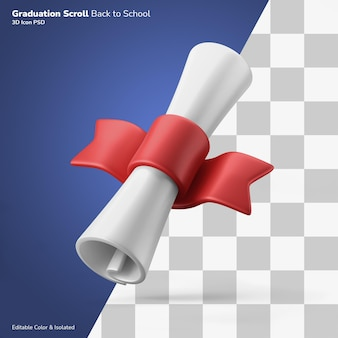 교육 인증서 졸업 스크롤 3d 렌더링 아이콘 편집 가능한 절연