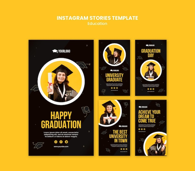 Education concept instagram stories template