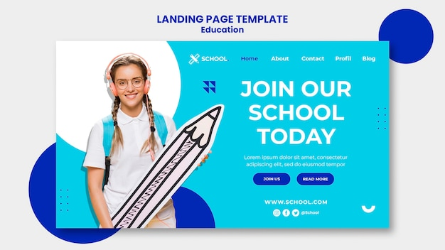 Education concept landing page