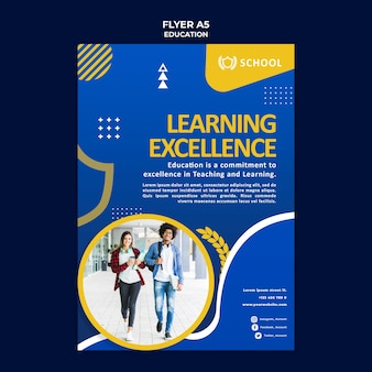 Education flyer template with photo Free Psd