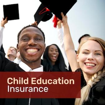 編集可能なテキストを含むソーシャルメディア用の教育保険テンプレートpsd