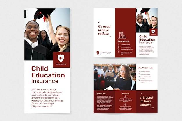 Education insurance template psd with editable text set