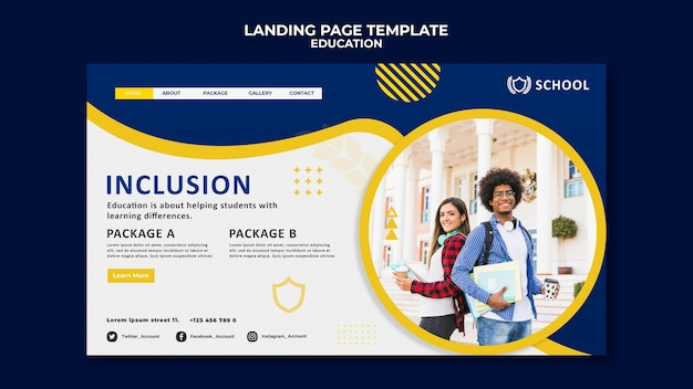 Education landing page template