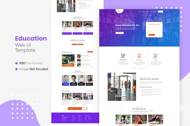 Education landing page web ui