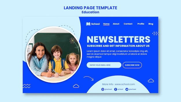 Education newsletters landing page