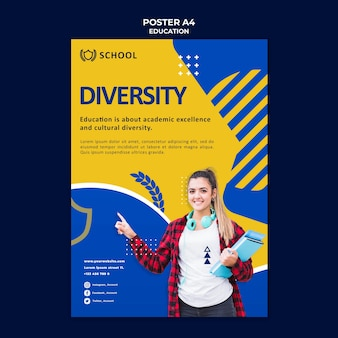 Education poster template with photo