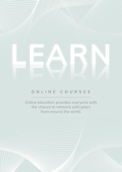 Education template psd on minimal wireframe background