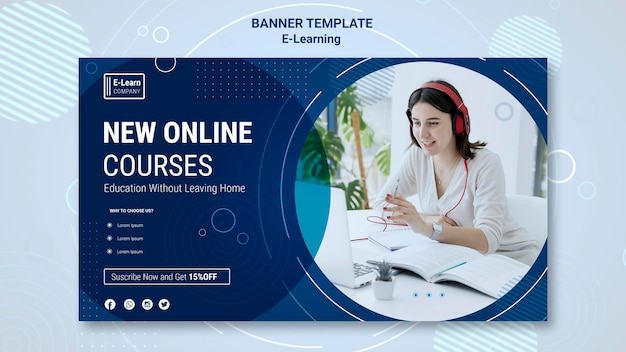 Ee-learning concept banner template