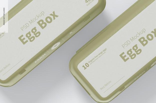 Мокап коробки яйца, крупным планом
