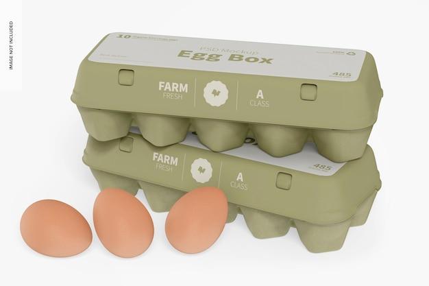 Мокап яичных коробок, перспектива
