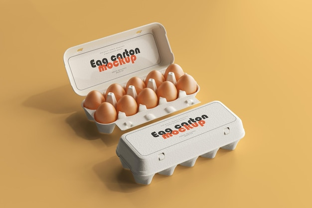 茶色の卵と卵パックのモックアップ