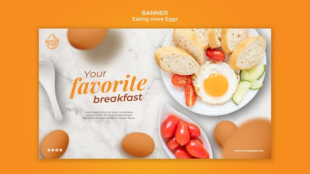 Eggs and cherry tomatoes banner template