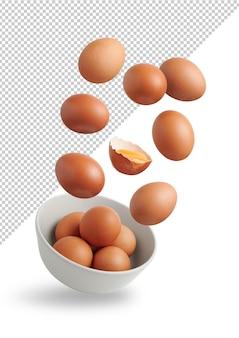 Яйца летают в миске, изолированные