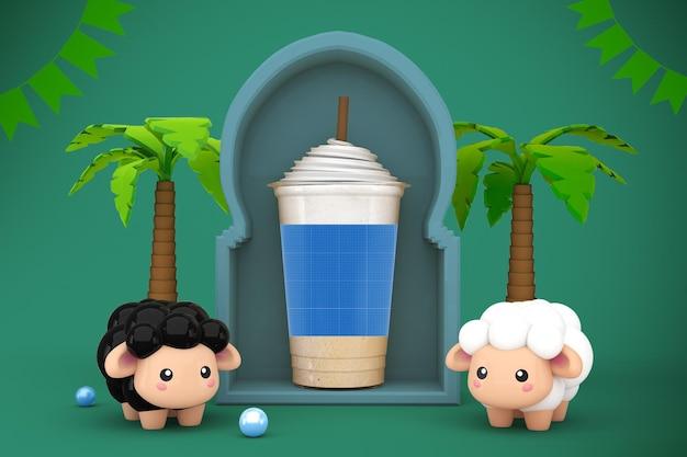 イードアルアドハープラスチックカップモックアップデザイン