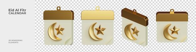 Eid al fitr calendar 3d 렌더링 요소