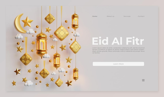 Eid al fitr landing page template with 3d rendering of ketupat