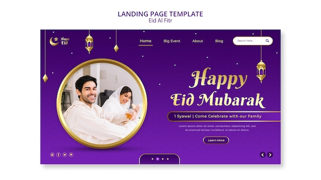 Eid al fitr landing page template with stars and moon