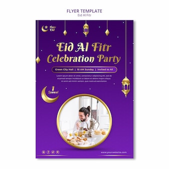 Eid al fitr poster template with lanterns and stars