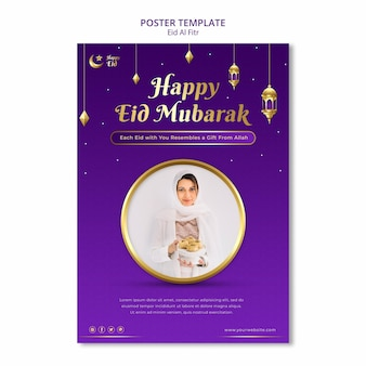 Eid al fitr poster template with moon and stars