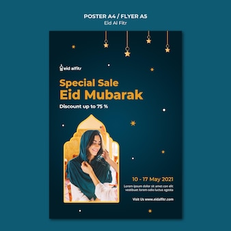 Eid al-fitr print template with photo