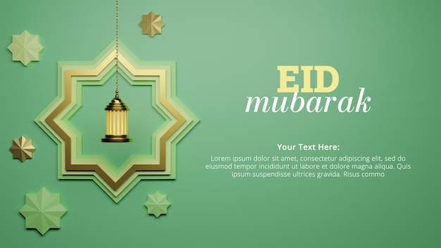 Eid al fitr with hanging star and lantern for social media post