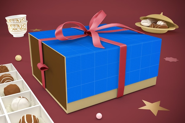 3d 디자인에서 eid 선물 상자 렌더링