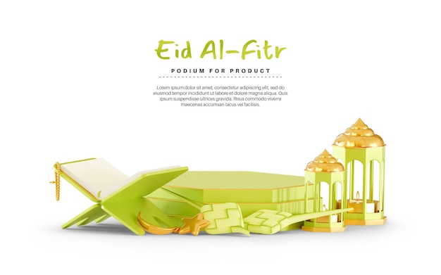 Eid mubarak 3d background with podium and ketupat