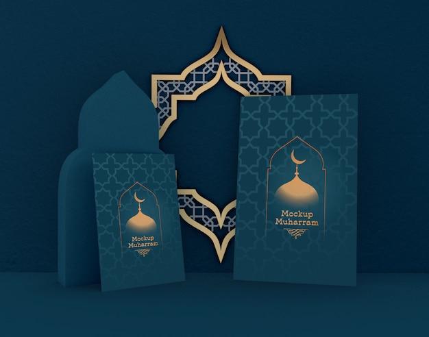 Ид мубарак, макет поздравительной открытки. традиционный исламский праздник.