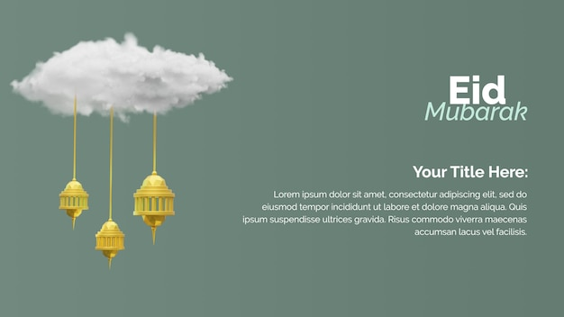 Eid mubarak greeting card template with cloud and hanging lantern 3d rendering