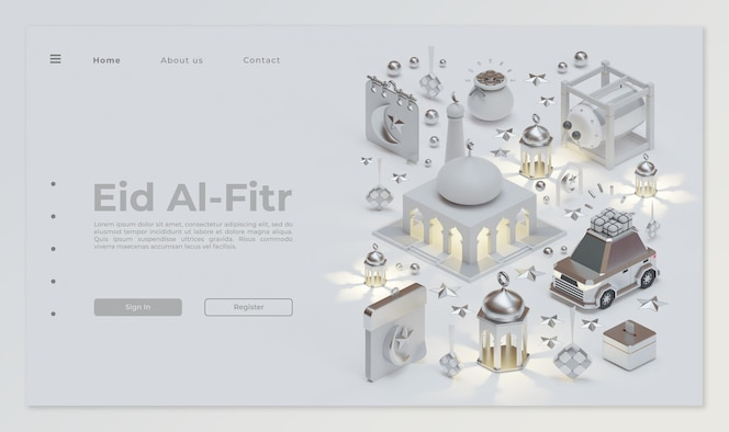 Eid mubarak landing page template with 3d rendering composition