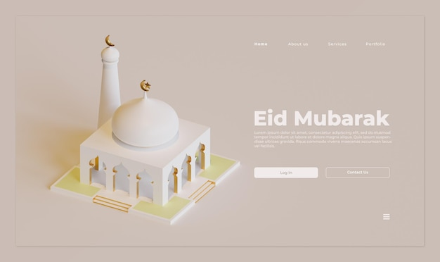Eid mubarak landing page template with 3d rendering of mosque