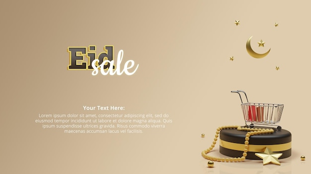 Eid sale banner header with islamic concept 3d rendering