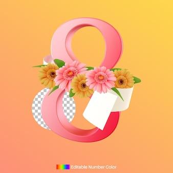 Число восемь с цветком для празднования международного женского дня 3d-рендеринга