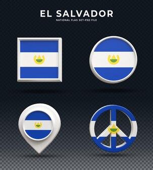 El salvadorflag кнопка купола 3d-рендеринга и на глянцевой подставке