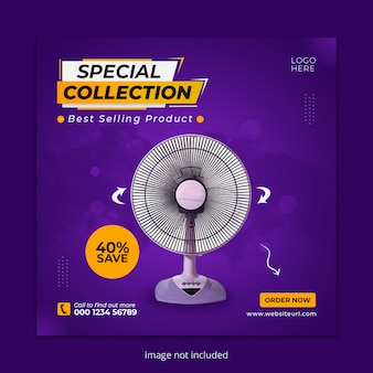 Electric fan social media instagram post banner template
