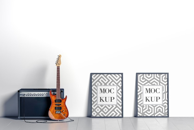 Electric guitar and amplifier mockup 3d rendering