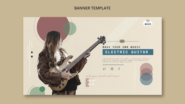 Electric guitar lessons banner design