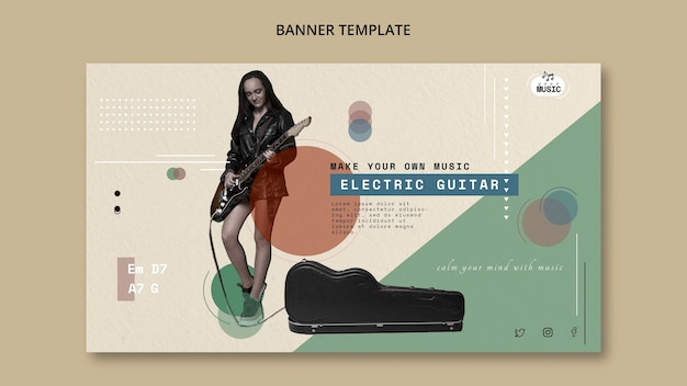 Electric guitar lessons banner style