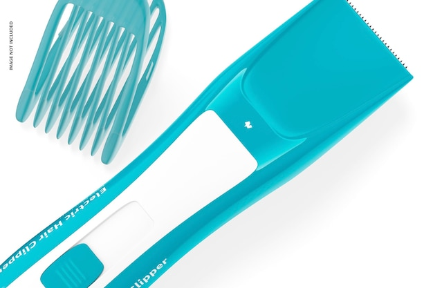 Electric hair clipper mockup, close up