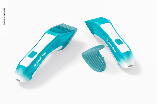 Electric hair clippers mockup, top view